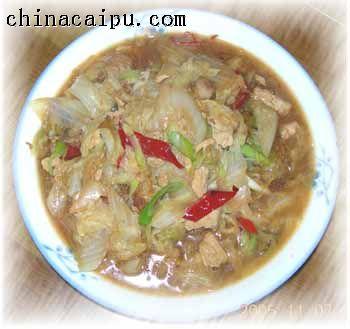 冻豆腐炖白菜的做法