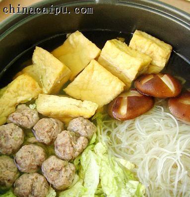羊肉丸白菜粉丝锅