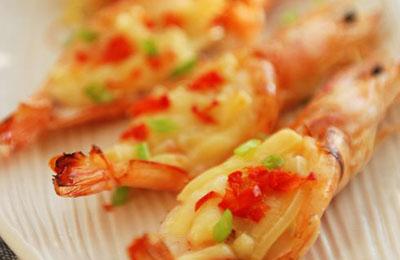 奶酪焗开背大虾